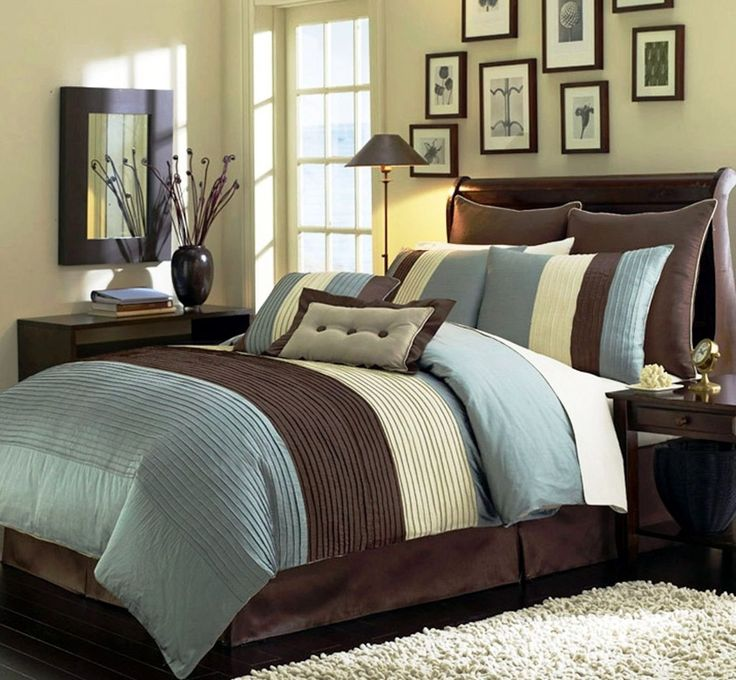 legacy decor 8 pieces blue beige brown luxury stripe comforter bed in a bag set queen size bedding