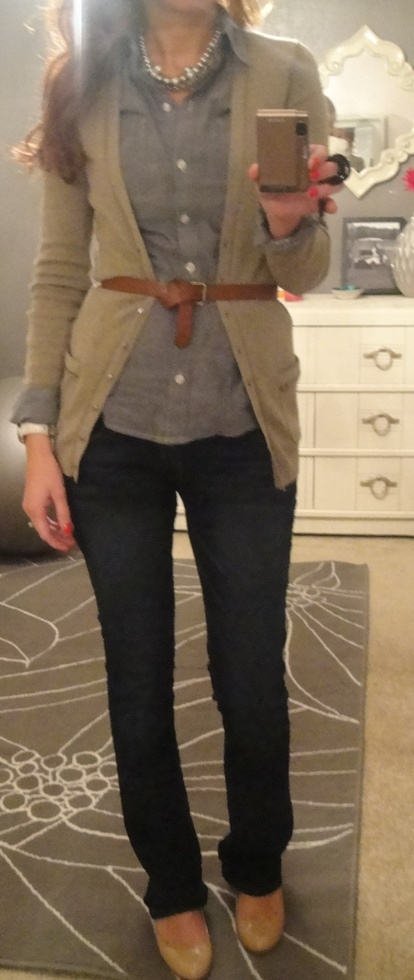 fall:  gray chambray oxford, tan cardi, belt, necklace, dark denim, nude pumps