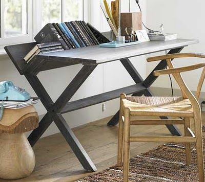 Desk designed to keep books and files handy but out of the way