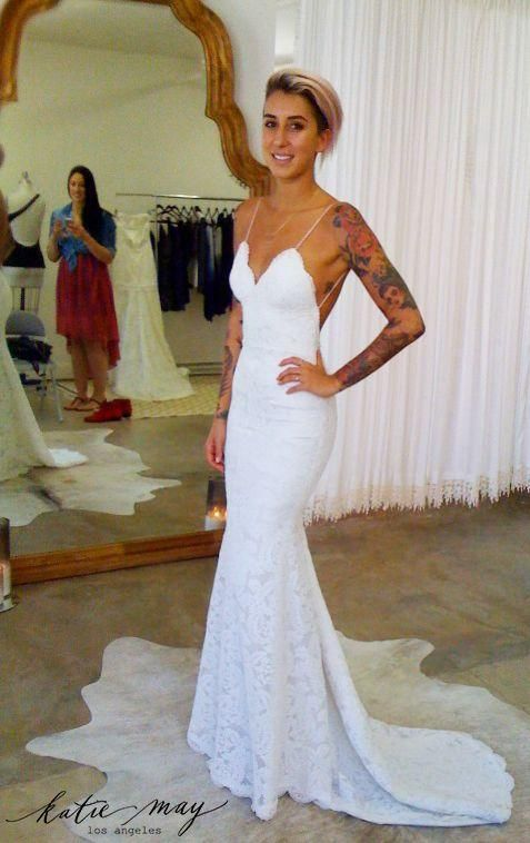 Lovely  full lace wedding dresses mermaid spaghetti straps slim women beach bridal gown low back sexy customized summer dress for weddings
