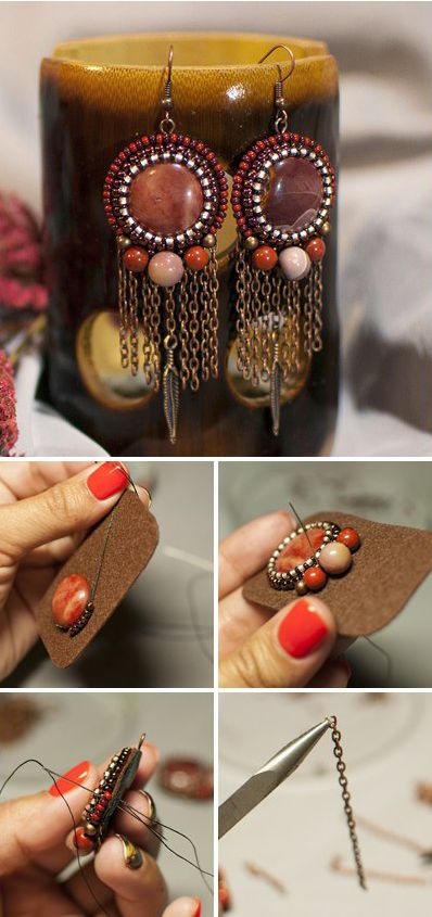 Beaded earrings. Click on image to see step-by-step tutorial