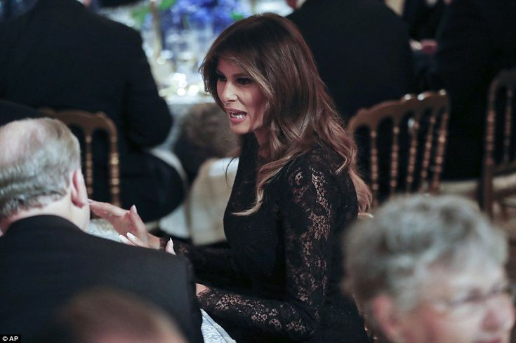 Melania stunned at the event in a floor-length all black lace gown as she mingled with the different Republican and Democrat lawmakers from all around the country