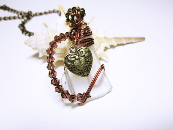 SEA GLASS PENDANTS #White Sea Glass Brown Wire Wrapped #Pendant Necklace Heart Charm Beaded Accent #Gift Idea For Her     One Of A Kind Wire Wrapped Sea Glass  I Love The Way ... #seaglass #nautical #seaglaspendant #nauticalnecklce #giftidea #giftforher #fashion