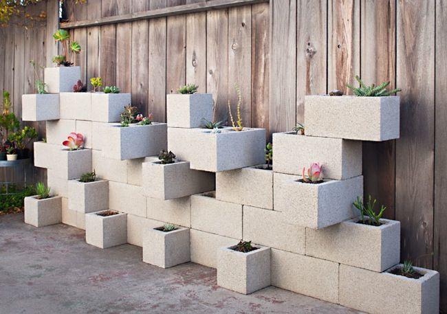 So simple, cheap and effective: Contemporary Landscape, Gardens Ideas, Succulents Planters, Cinder Blocks Gardens, Herbs Garden, Cinderblock, Planters Wall, Blocks Planters, The Blocks