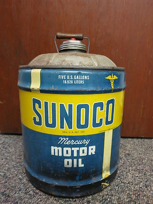 1956 SUNOCO MERCURY MOTOR OIL CAN-18.926 LITERS