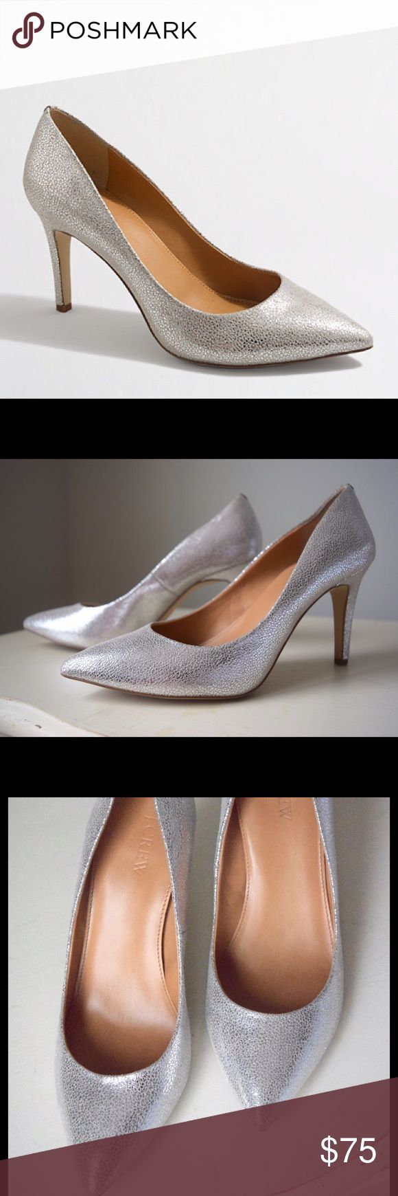 "J.Crew Factory Isabelle Crackled Metallic Pumps Lightly worn metallic pumps. Comfortable 3 1/2"" heel. Man-made materials. Excellent used condition. J. Crew Factory Shoes Heels"