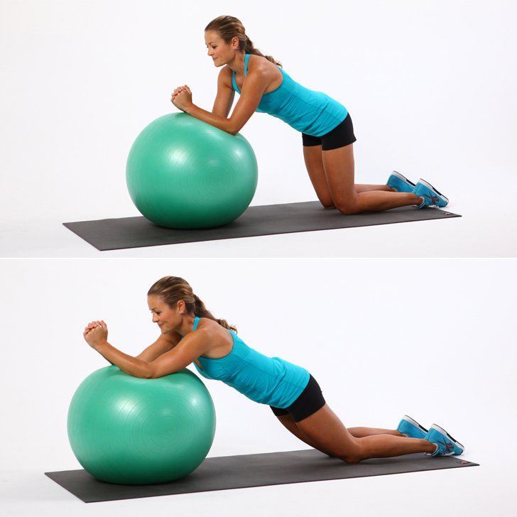 One of our favorite ab exercises with a ball. No crunching required, but your abs will still feel the burn.