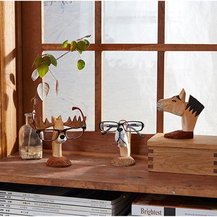 Hand-carved Deer /Dog /Horse Glasses Stand Wood Carving Crafts Lovely Eyeglasses Sunglasses Stand Holder Rack Animal Home Decor