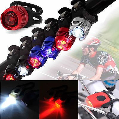 Bike Bicycle Safety Warning Head Front Tail Rear Flashing Light Silicone Band *