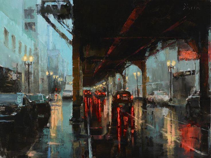 Κέντρο Νέας Υόρκης με βροχή
