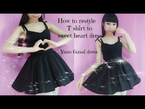DIY-How to restyle T- shirt to sweet heart dress(easy)- Anime Yuno Gasai inspired costume - YouTube