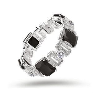 Newbridge Silverware Greta Garbo Bracelet Clear and Black Stones