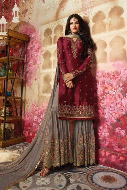 747f2bf8bd Stunning Party Wear Pakistani Sharara Suits in Maroon | Eid Dresses ...
