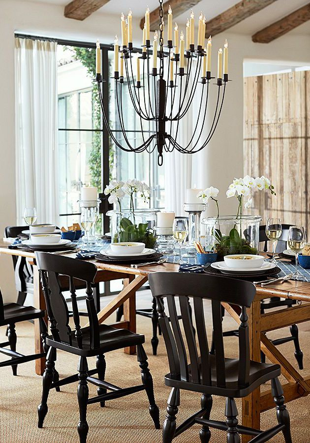 Warner Extending Dining Table At Pottery Barn With Existing Queen Anne Chairs Painted Black