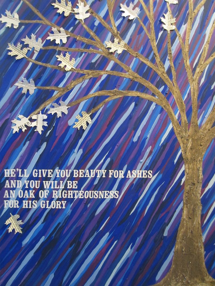 """I call this painting 'Beauty for Ashes'. It was inspired by Isaiah 61:3 – """"…[He will] bestow on them a crown of beauty instead of ashes, the oil of gladness instead of mourning, and a garment of praise instead of a spirit of despair. They will be called oaks of righteousness, a planting of the Lord for the display of his splendor."""" I wanted to show in a painting how God wants to take our 'ashes' (the terrible, sad, challenging things in our lives) and turn them into something beautiful. I'm…"""