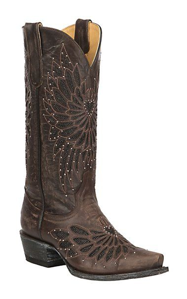b4c4250d78f by Old Gringo Women's Chocolate with Black Crystal Inlay Western ...