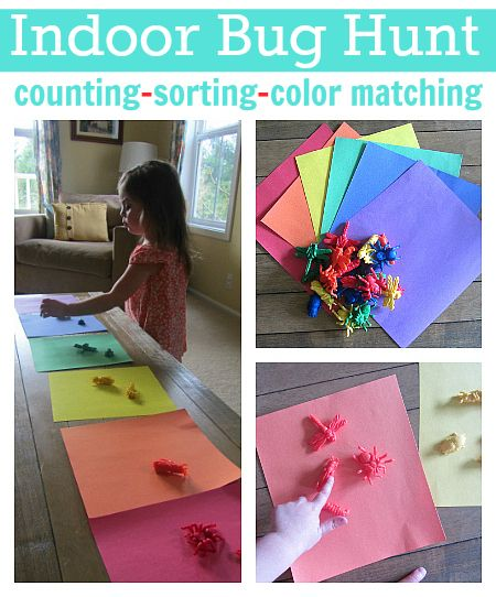 Get kids moving inside with a fun bug ( or anything really) hunt . Add in math and color recognition for some learning. Great idea!