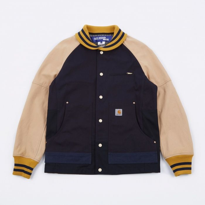 51fe3b98c99 Junya Watanabe Man x Carhartt Duck Varsity Jacket - Navy/Beige (Image 1)