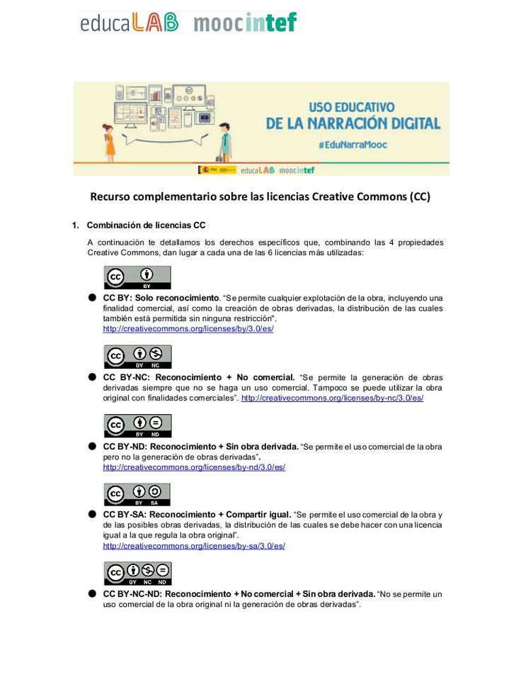 """Recurso complementario sobre las licencias Creative Commons (CC) correspondiente al MOOC INTEF """"Uso Educativo de la Narración Digital"""". #EduNarraMooc - Primera…"""