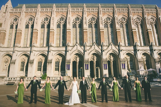 Katie & Igor's wedding party on @University of Washington campus before heading to the Burke for their reception. Beautiful!