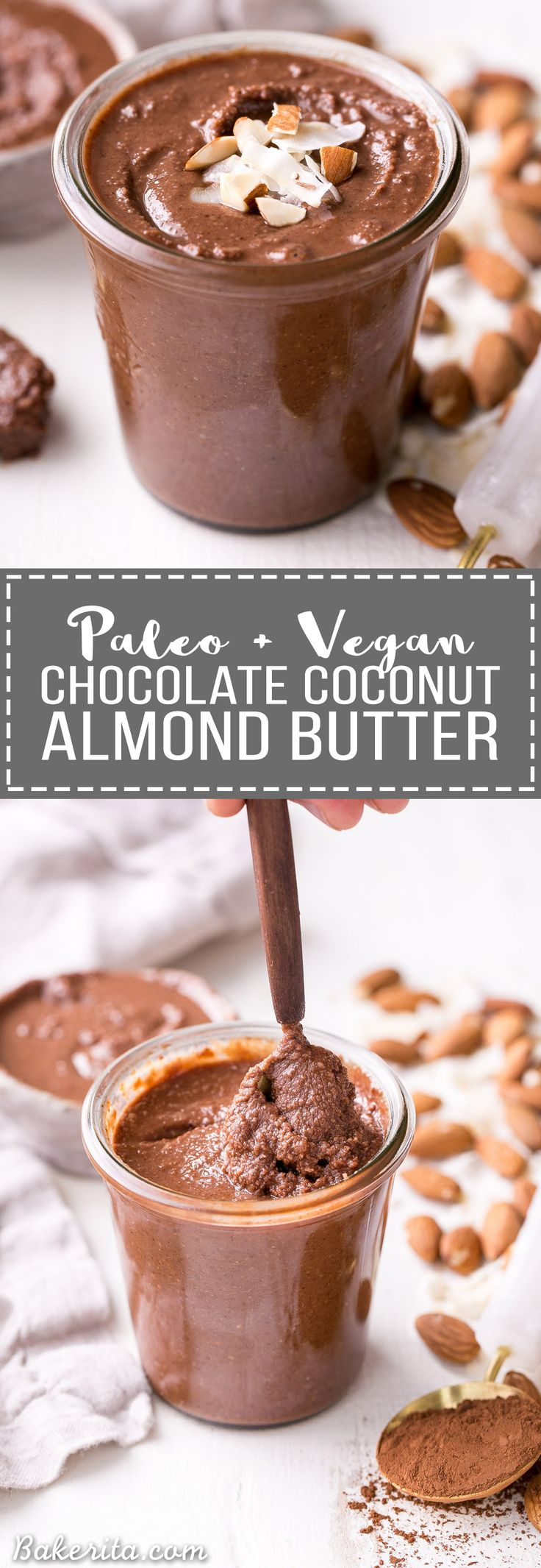 This Dark Chocolate Coconut Almond Butter is a decadent homemade nut butter that will satisfy all your chocolate cravings. This paleo and vegan chocolate spread is perfect with bananas, apples, oatmeal, or with a spoon!