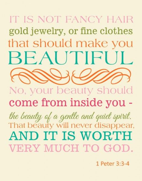 """Your beauty should not be an external one… Instead, it should be the inner disposition of the heart, consisting in the imperishable quality of a gentle and quiet spirit, which God values greatly"""" -1 Peter 3:3-4    Read more: http://www.knowing-jesus.com/peter-3-3-4/"""