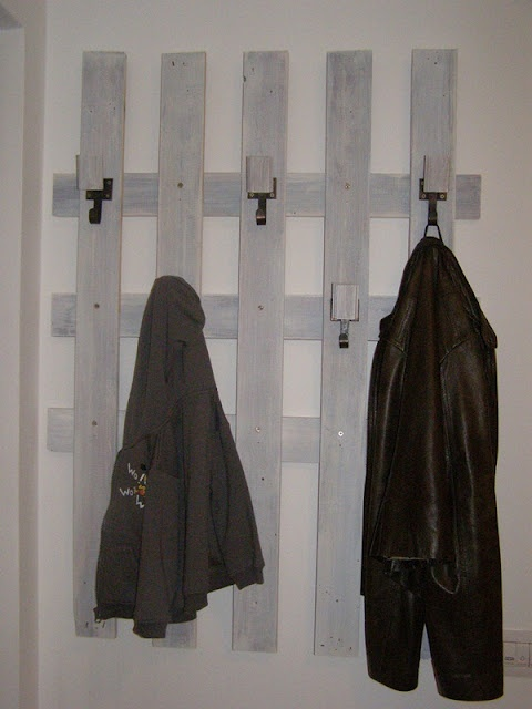 a jacket hanger from old wood strip flooring