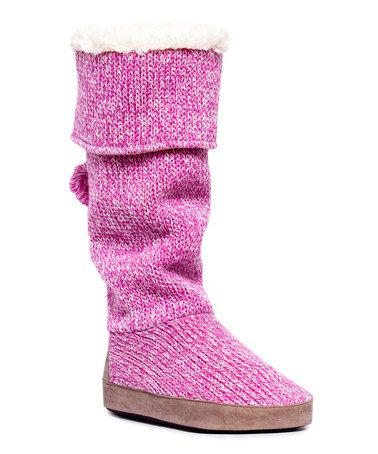 This Bubble Gum Pink Winona Candy-Coated Slipper Boot is perfect!  #zulilyfinds