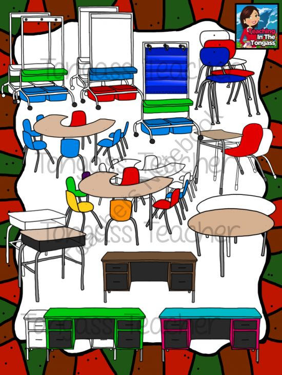 Classroom Furniture Clipart Bundle from tongassteacher on TeachersNotebook.com -  (21 pages)  - This 21 piece clipart bundle features a huge variety of classroom furniture! The bundle includes a pocket chart stand (with and without a chart), dry erase stand, student chairs, student chair/desk combos, horseshoe tables, round table, teacher desks, and