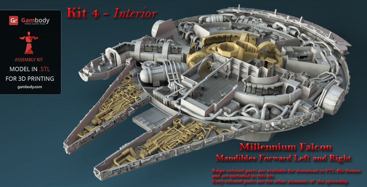 The 4th kit of Star Wars Millennium Falcon Engine, mandibles, and Quad Laser is ready for 3D printing. Download high detail, error-free STL files.