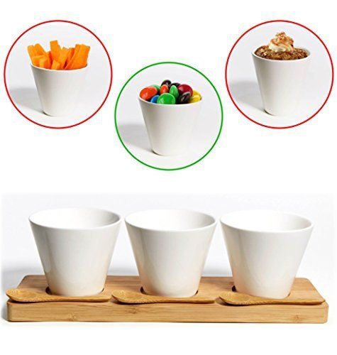 This beautiful, modern and wonderfully chic 7 piece porcelain and bamboo set is perfect for serving up any kind of dessert. It will make any dessert look impressive and extra tasty when you present it in this stunning set of three porcelain cups with bamboo spoons and tray! Don't settle for... - http://kitchen-dining.bestselleroutlet.net/product-review-for-porcelain-dessert-set-amazing-value-dipping-set-white-tasting-bowls-serving-cups-for-candy-hors-doeuvres-tapas-dips