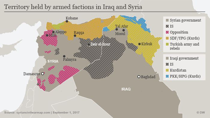 Map showing active armed groups in Iraq and Syria
