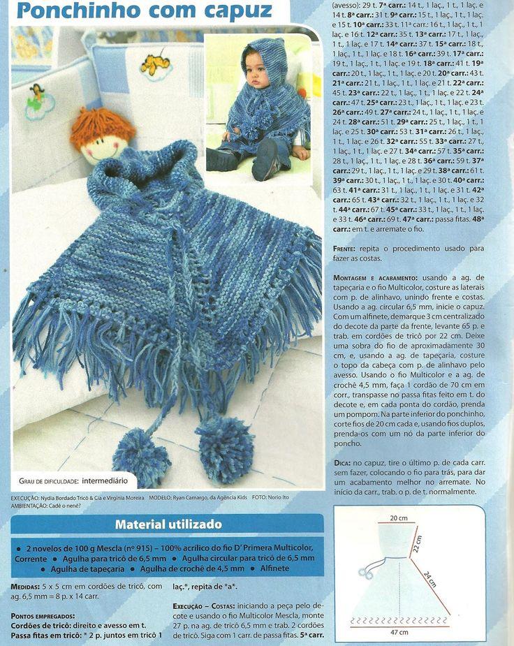 Receita Tricô Fácil  Poncho com Capuz para bebê.  Revista Receita Completa    Deixe seu pequeno aquecido nos dias mais frios.   Receita c...