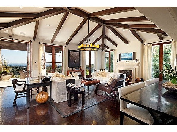 Gorgeous wood beamed ceiling