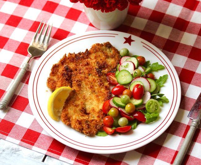 schnitzel with frisée apple salad chicken schnitzel with frisee apple ...