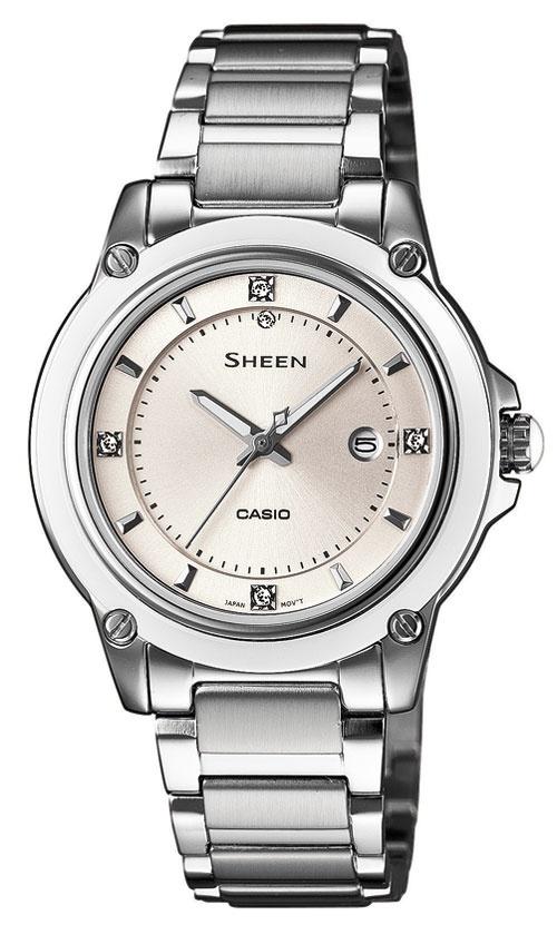 Casio Sheen, SHE-4507D-7AER. Viser dag og har bezelring i skinnende keramikk. Har Swarovskistenker og urkasse og lenke i rustfritt stål.