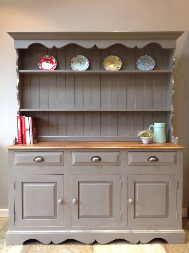 *NOW SOLD* Large Rustic Painted Country Solid Pine Welsh Dresser Kitchen Cabinet Unit Painted Annie Sloan French Linen Grey by ClyneCoFurniture on Etsy