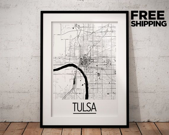 Tulsa Map Poster usa Map Print Art Deco Series by iLikeMaps