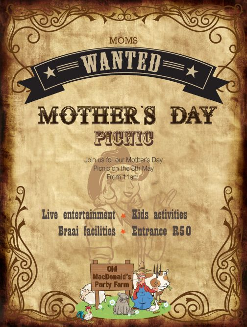 Get your bookings in for our Mother's Day Picnic on the 8th May!