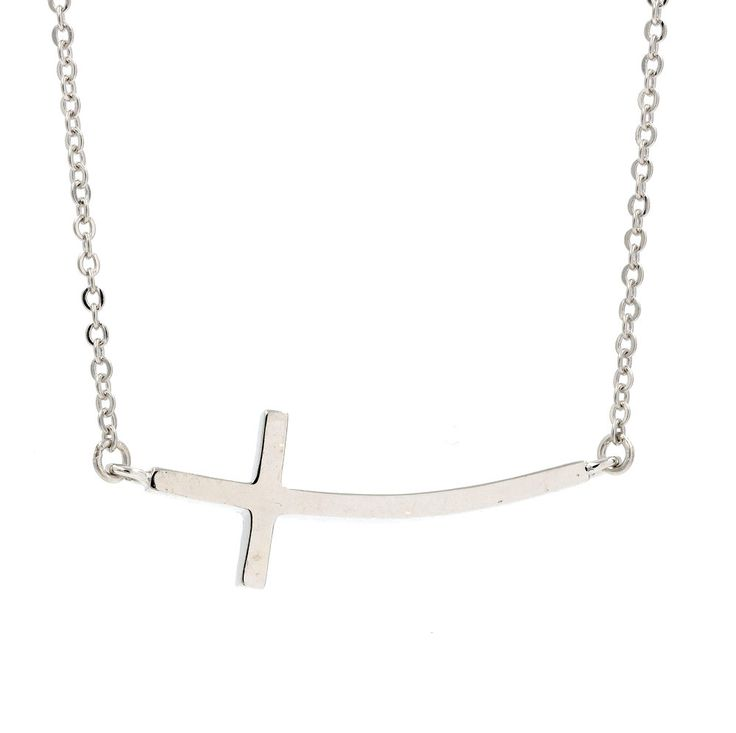 ZDN3703 925 STERLING SILVER PLAIN SIDE CROSS NECKLACE