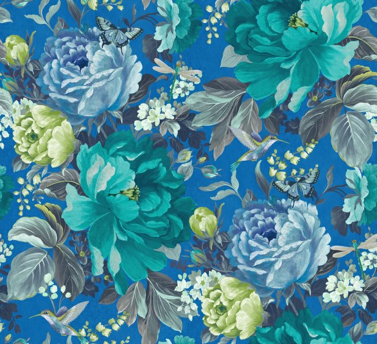 Dianthus wallpaper in China Blue from the 'Shade Wilder' collection by Arthouse. Available exclusively in New Zealand through Guthrie Bowron.