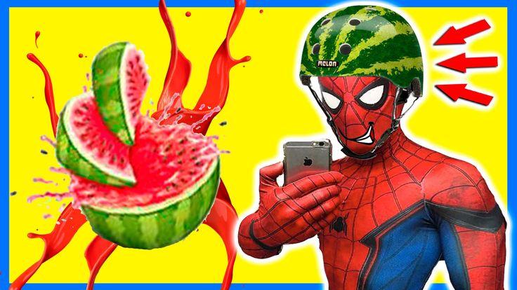 SpiderMan makes Watermelon Helmet w/ Frozen Elsa in Real Life