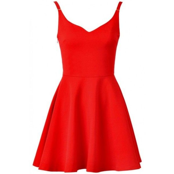 LUCLUC Red V-Neck Sleeveless Skater Dress (450 MAD) ❤ liked on Polyvore featuring dresses, vestidos, skater dress, v neckline dress, red sleeveless dress, no sleeve dress and v neck dress