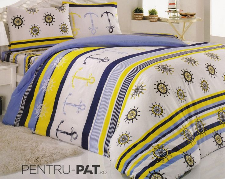 Set cuvertura pat pentru o persoana Anatolia blue & yellow