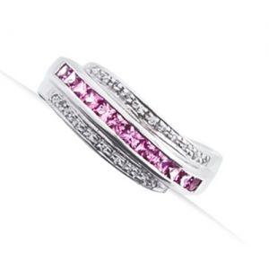 PIERŚCIONEK ALIDA; Pierścionek srebrny z różowym szafirem