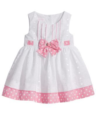 Bonnie Baby Eyelet & Dot-Print Dress, Baby Girls