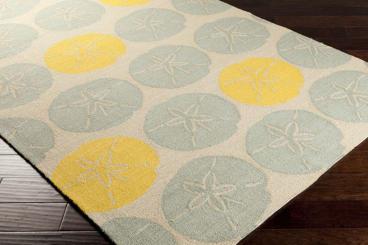 Foggy Blue and Citrine Sand Dollar Rug - New and safe for outdoor use too!