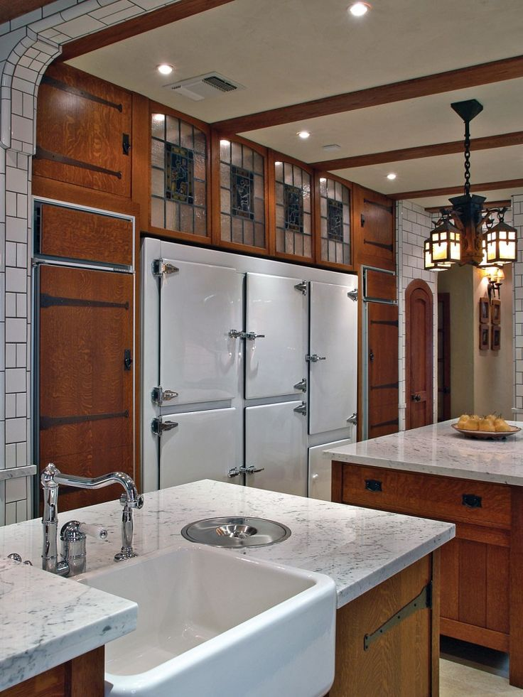 Built in Arts & Crafts wood kitchen cabinets
