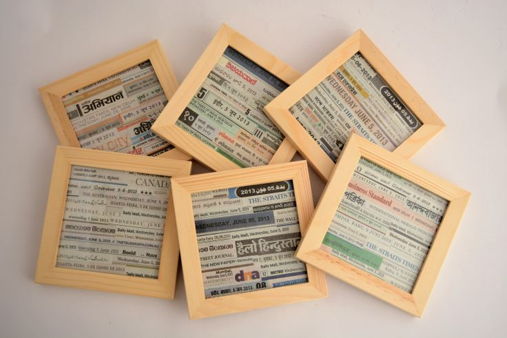 Coasters in newspaper collage