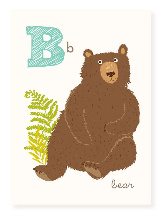 Abc Wall Art Abc Card B Is For Bear Alphabet Flash